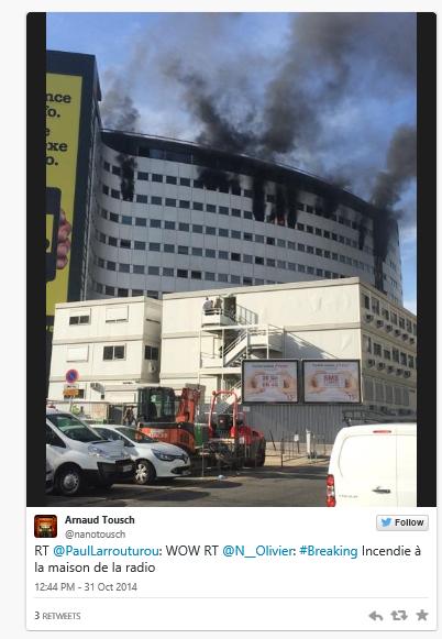 Info paris incendie la maison de la radio la for Adresse maison de la radio